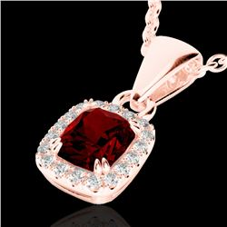 1.25 CTW Garnet & Micro Pave VS/SI Diamond Halo Necklace 10K Rose Gold - REF-27W3F - 22884