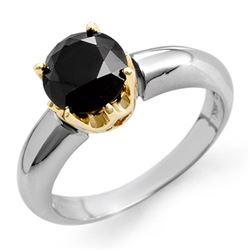 1.75 CTW VS Certified Black Diamond Solitaire Ring 14K 2-Tone Gold - REF-64X2T - 11814