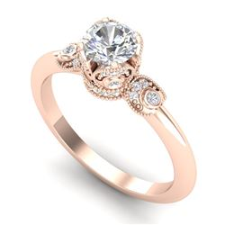 1 CTW VS/SI Diamond Solitaire Art Deco Ring 18K Rose Gold - REF-157T5M - 36852