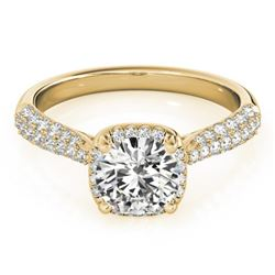 1.5 CTW Certified VS/SI Diamond Solitaire Halo Ring 18K Yellow Gold - REF-389K5W - 26169