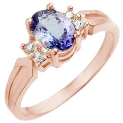 1.10 CTW Tanzanite & Diamond Ring 14K Rose Gold - REF-29T3M - 10186