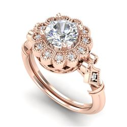 1.2 CTW VS/SI Diamond Solitaire Art Deco Ring 18K Rose Gold - REF-345K2W - 37050