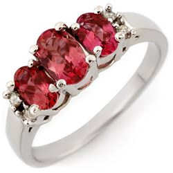 0.92 CTW Pink Tourmaline & Diamond Ring 18K White Gold - REF-46M2H - 10925