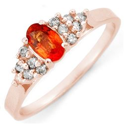 0.74 CTW Orange Sapphire & Diamond Ring 14K Rose Gold - REF-27H6A - 10475