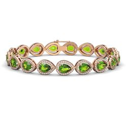 16.08 CTW Peridot & Diamond Halo Bracelet 10K Rose Gold - REF-312F2N - 41118