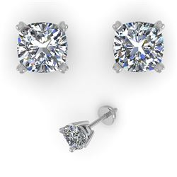 1.02 CTW Cushion Cut VS/SI Diamond Stud Designer Earrings 18K White Gold - REF-180M2H - 32289