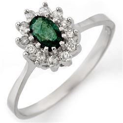 0.60 CTW Emerald & Diamond Ring 14K White Gold - REF-29K5W - 11121
