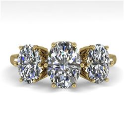 2.0 CTW Solitaire Past Present Future VS/SI Oval Diamond Ring 18K Yellow Gold - REF-414F3N - 35914