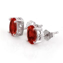 2.0 CTW Garnet Earrings 18K White Gold - REF-11Y8K - 10220