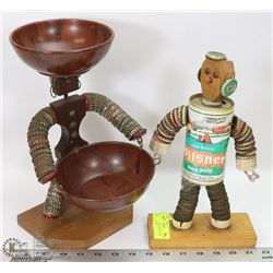 FOLK ART BOTTLE CAP GUY AND CANDY DISH GUY