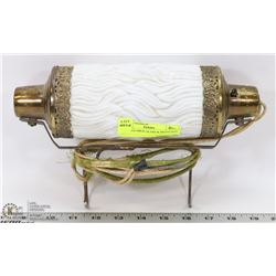 ANTIQUE MILK GLASS & BRASS BED LAMP