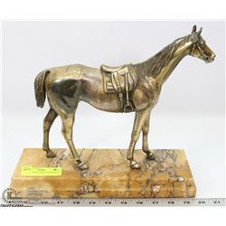 ARTIST SIGNED HORSE ON MARBLE STAND