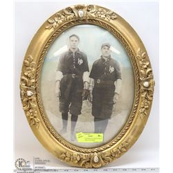 ANTIQUE FRAMED COLORED PHOTO OF 2 BASEBALL PLAYERS