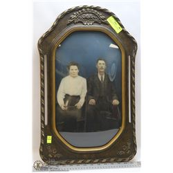 ANTIQUE CURVED GLASS FRAME AND PHOTO