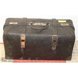 ANTIQUE BLACK LEATHER TRAIN SUITCASE