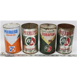 TRAY LOT OF VINTAGE BA OIL CANS