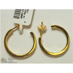 46) 18K GOLD PLATED CZ SMALL HOOP EARRINGS