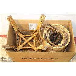 LOT OF WICKER BASKETS AND A STOOL