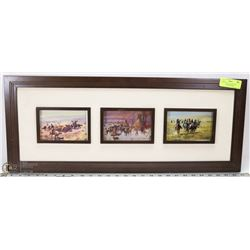 5 POSTCARD COLLECTION OF RUSSELL, 3 ARE FRAMED