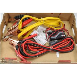 2  PAIR OF BOOSTER CABLES & HITEC CHARGOMATIC