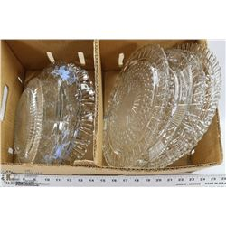 10) 9 SERVING PLATTERS INCL DEPRESSION GLASS