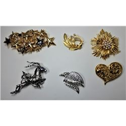 15 - LOT OF 6  VINTAGE BROOCHES