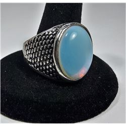 5 - STAINLESS STEEL & OVAL MOONSTONE