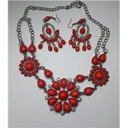 12 - SET OF SILVER TONE, CRYSTAL & CORAL