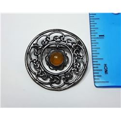 3 - CIRCLE BROOCH STAMPED 925 SILVER