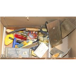BOX WITH ASSORTED TOOLS  AND TROWELS