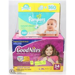 BOX OF L-XL GOODNIGHTS DIAPERS WITH BOX OF PAMPERS