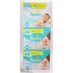 3 BOXES OF 320 PAMPERS WIPE REFILLS