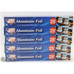 LOT OF 5 ROLLS OF 25FT ALUMINUM FOIL