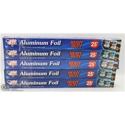 "LOT OF 5 ROLLS OF 18""X25' ALUMINUM FOILS"