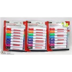 3 PACKS OF DRY ERASE MARKERS
