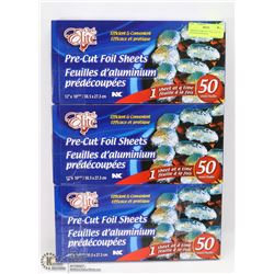 3 BOXES OF PRE-CUT FOIL SHEETS (50 COUNT PER BOX)