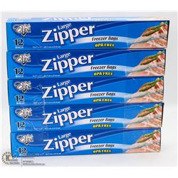 5 CASES OF LARGE ZIPPER FREEZER BAGS