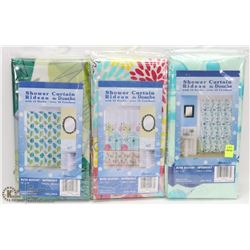 LOT OF 3 SHOWER CURTAINS W/ 12 HOOKS