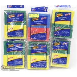 6 BAGS OF HEAVY DUTY SCOURING PADS (12 PER BAG)