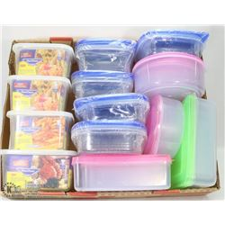 FLAT OF NEW PLASTIC FOOD STORAGE CONTAINERS