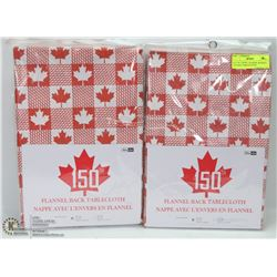 LOT OF 2 VINYL FLANNEL BACKED CANADA TABLECLOTHS