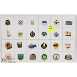 SHEET OF 24PC ALBERTA CITY-TOWN COLLECTOR PINS