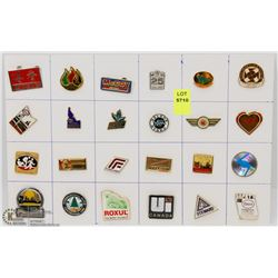 SHEET OF 24PC COMPANIES COLLECTOR PINS