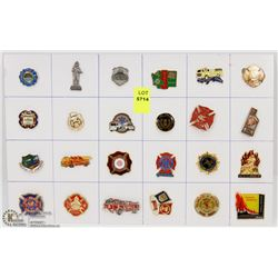 SHEET OF 24PC FIRE DEPARTMENT COLLECTOR PINS