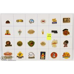 SHEET OF 24PC FOOD & DRINK COLLECTOR PINS