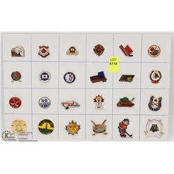 SHEET OF 24PC HOCKEY-GENERAL COLLECTOR PINS