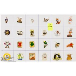 SHEET OF 24PC MASCOTS COLLECTOR PINS