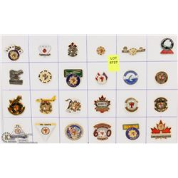SHEET OF 24PC MILITARY VETS-CANADA COLLECTOR PINS