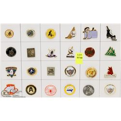 SHEET OF 24PC MINOR HOCKEY COLLECTOR PINS