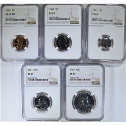 1961 COMPLETE PROOF SET ALL NGC PF67